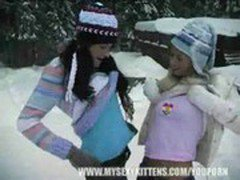 Cute 18 year old girls playing in the snow