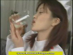 Japanese nurse drinking gallons of nutricious sperm on doctor's advice