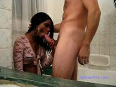African Angola babe fucked by big dick in bathroom