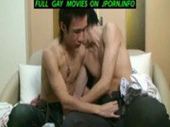 Japanese guy jerks off on the gay beach