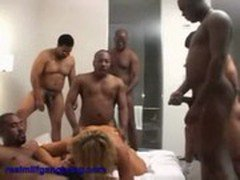 Blonde MILF Jean gets banged by black cocks - real milf gangbang 1  ---CockTaiL---