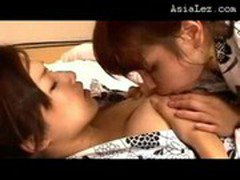 Asian Girl In Kimono Kissing Getting Her Nipples Sucked Pussy Licked On The Mattress