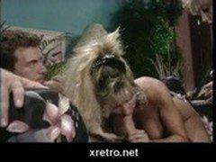 Laundry guy gets blowjob in retro porn movie