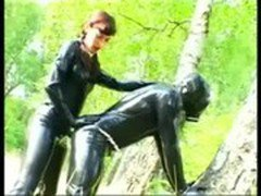 Slave Chris Getting Fucked in the Ass by German Latex Mistress Suzi GerBurg