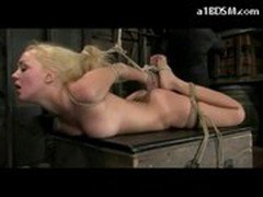 Hot Blonde Getting Hogtied Getting Her Pussy Fingered On A Box In The Dungeon