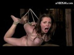 Busty Girl Getting Hogtied Pussy Fingered Face Rubbed With Cock In The Dungeon