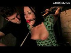Girl In Green Dress Tied Legs And Arm Spanked Stimulated With Vibrator On The Desk In The Dungeon
