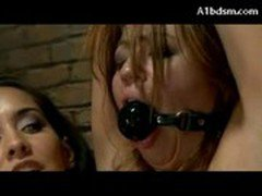 Busty Girl Mouth Gag Hanging Leg Cuff Elecktroshocked Stimulated With Vibrator By Her Mistress Sucki