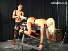 Blonde Girl Tied To Platform In Doggy Getting Fucked With Fuck Saw Clit Stimulated With Vibrator By