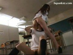 Schoolgirl In Training Dress Licking Fingering Her Teachers Pussy In The Classroom