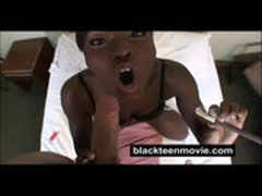 Ebony teen amateur fucks white dick