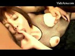Asian Girl In Fishnet Lingerie Getting Her Pussy Fingered Fucked Sucking Cock 2 Guys On The Bed