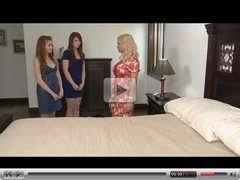Mature woman and 2 young lesbians