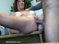 Blonde MILF With Big Tits Gets Banged On The Table