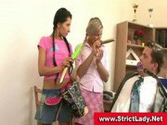 Gagged businessman gets abused by two nasty femdom teens