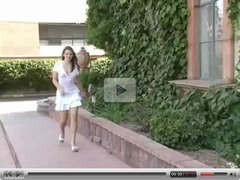 Brunette Maura scres her dildo like crazy in public!
