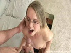 cute blonde chick facialized after a hardcore fucking