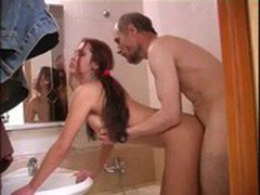 Teen fucked in the bathroom by granpa