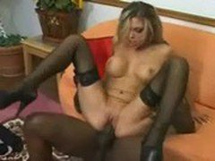 Horny White MILF Riding a Big Black Cock
