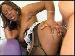 Black Maid Skyy Black takes care of the master of the house