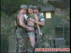 Threesome fuck in militar base