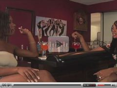 Two black lesbian hotties toying