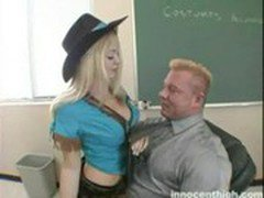The amazing blonde hottie is busted and fuck teacher as punishment