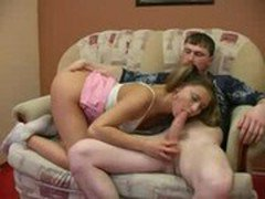 Very young looking teen sucks her boy