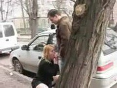 Woman giving blowjob to a man in public street