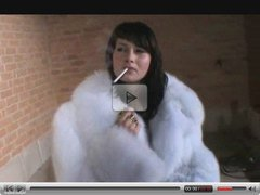 Babe in Fur Coat Smokes
