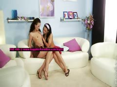 Carie and Andy lesbo girls teasing