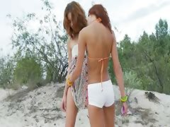 czechian teens toying on the beach