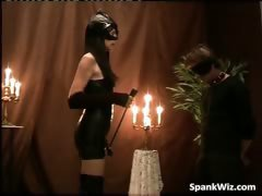 Hot bossy brunette girl spanks dudes part2