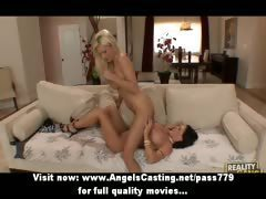 Superb amazing blonde and brunette lesbian couple fingering