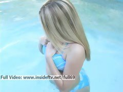 Alison _ Cute amateur blonde playing with her boobs and ass in the pool