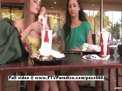 Faye and Larysa from ftv babes independent lesbian babes masturbating at the restaurant in public
