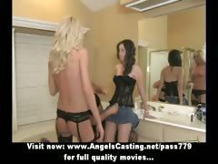 Three beautifull sexy lesbian girls fingering and pussy licked in bathroom