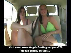 Amateur amazing sexy girls talking and touching in the car