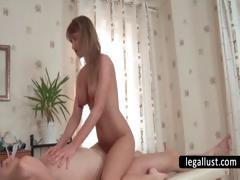 Blonde slut takes dick in mouth and cunt