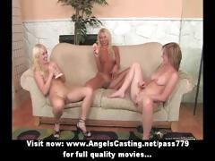 Lesbian threesome with blondes licking pussy and fucking with dildo