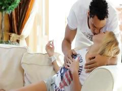 Interracial sex with blonde beauty woman