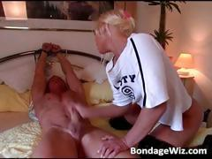 Hot blonde ties guys hands and jerks off part3