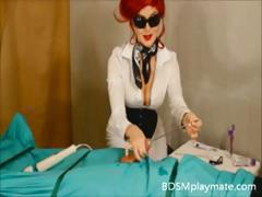 Hot Mistress gives a handjob to her slave until he cums