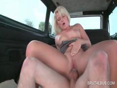 Slutty babe gets cunt fucked upskirt