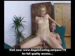 Hot sexy blonde riding cock and fucked from behind and doing blowjob