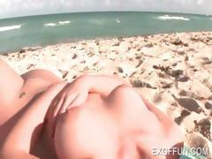 Hot sweety tanning naked body at beach