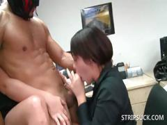 Stripper gets cock sucked by two sluts