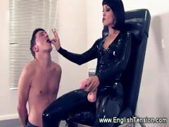 Domina dominates smoke loving slave