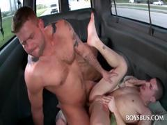 Gay stunner having anal sex in the bus