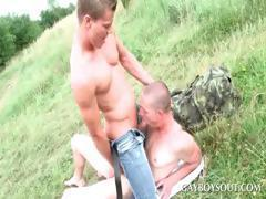 Teen gay stunner gets penis sucked outdoor